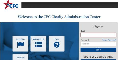 This is a screen shot of OPM's charity application system log in page.