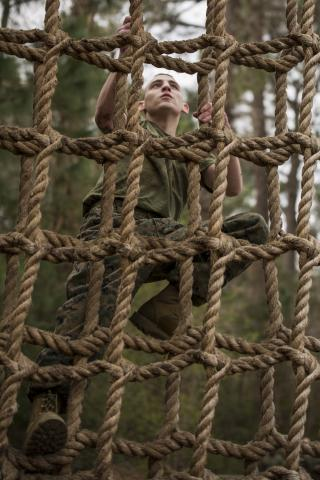 A soldier training.